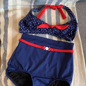 Pin up retro vintage style two piece swimsuit 8